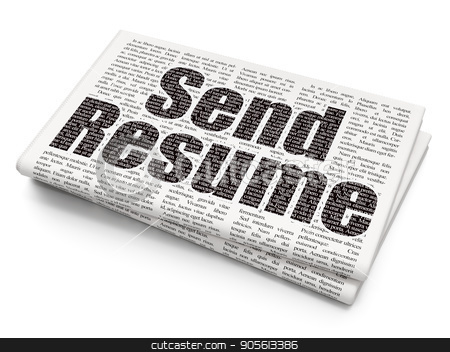 Business concept: Send Resume on Newspaper background stock photo, Business concept: Pixelated black text Send Resume on Newspaper background, 3D rendering by mkabakov
