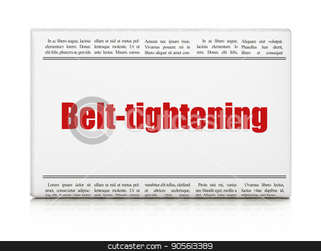 Business concept: newspaper headline Belt-tightening stock photo, Business concept: newspaper headline Belt-tightening on White background, 3D rendering by mkabakov
