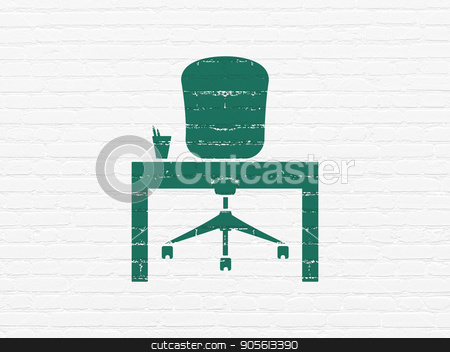 Finance concept: Office on wall background stock photo, Finance concept: Painted green Office icon on White Brick wall background by mkabakov
