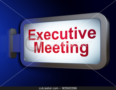 Business concept: Executive Meeting on billboard background stock photo, Business concept: Executive Meeting on advertising billboard background, 3D rendering by mkabakov