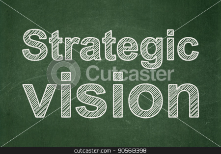 Business concept: Strategic Vision on chalkboard background stock photo, Business concept: text Strategic Vision on Green chalkboard background by mkabakov