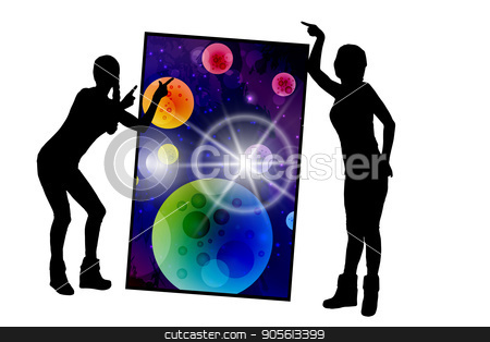 Concept cosmos inside us. yoga. Titats and statuses stock vector clipart, Concept cosmos inside us. yoga. Titats and statuses. Girls are silhouetted. Door to space. Illustration, vector for your design by Kseniia