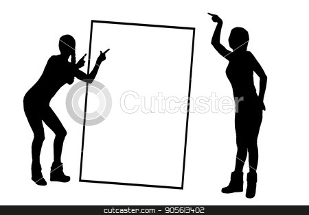 A frame with a place under the text monochrome stock vector clipart, A frame with a place under the text monochrome. Girl on white background with frame silhouette pointing with hands. Illustration, vector for your design by Kseniia