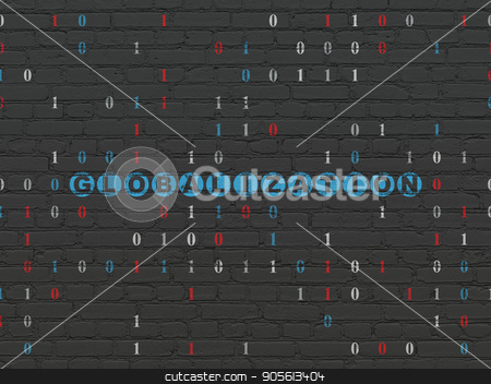 Business concept: Globalization on wall background stock photo, Business concept: Painted blue text Globalization on Black Brick wall background with Binary Code by mkabakov