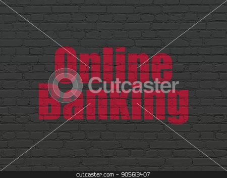 Finance concept: Online Banking on wall background stock photo, Finance concept: Painted red text Online Banking on Black Brick wall background by mkabakov