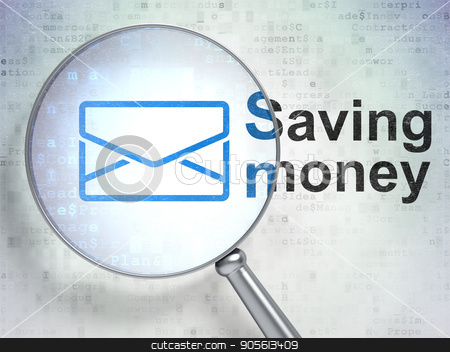 Finance concept: Email and Saving Money with optical glass stock photo, Finance concept: magnifying optical glass with Email icon and Saving Money word on digital background, 3D rendering by mkabakov