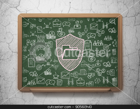 Finance concept: Folder With Shield on School board background stock photo, Finance concept: Chalk Pink Folder With Shield icon on School board background with  Hand Drawn Business Icons, 3D Rendering by mkabakov