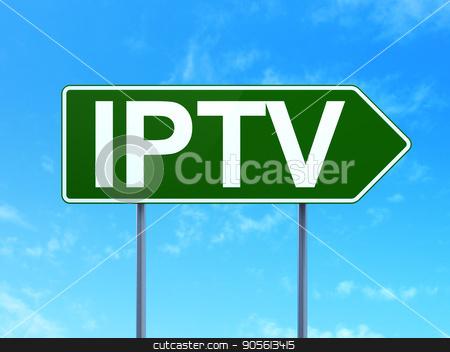 Web design concept: IPTV on road sign background stock photo, Web design concept: IPTV on green road highway sign, clear blue sky background, 3D rendering by mkabakov