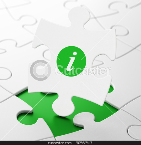 Web design concept: Information on puzzle background stock photo, Web design concept: Information on White puzzle pieces background, 3D rendering by mkabakov
