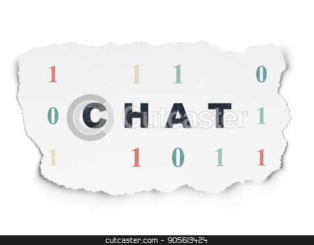 Web design concept: Chat on Torn Paper background stock photo, Web design concept: Painted black text Chat on Torn Paper background with  Binary Code by mkabakov