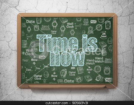 Time concept: Time is Now on School board background stock photo, Time concept: Chalk Blue text Time is Now on School board background with  Hand Drawing Time Icons, 3D Rendering by mkabakov
