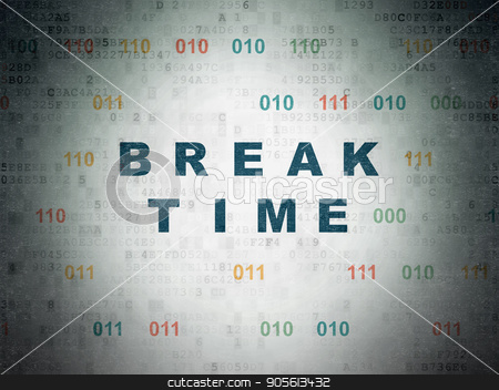 Timeline concept: Break Time on Digital Data Paper background stock photo, Timeline concept: Painted blue text Break Time on Digital Data Paper background with Binary Code by mkabakov