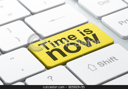 Time concept: Time is Now on computer keyboard background stock photo, Time concept: computer keyboard with word Time is Now, selected focus on enter button background, 3D rendering by mkabakov
