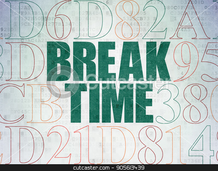 Timeline concept: Break Time on Digital Data Paper background stock photo, Timeline concept: Painted green text Break Time on Digital Data Paper background with Hexadecimal Code by mkabakov