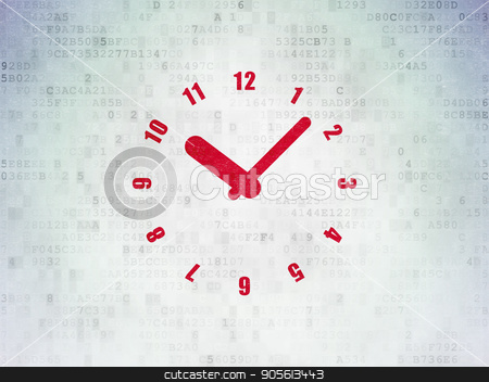 Time concept: Clock on Digital Data Paper background stock photo, Time concept: Painted red Clock icon on Digital Data Paper background by mkabakov