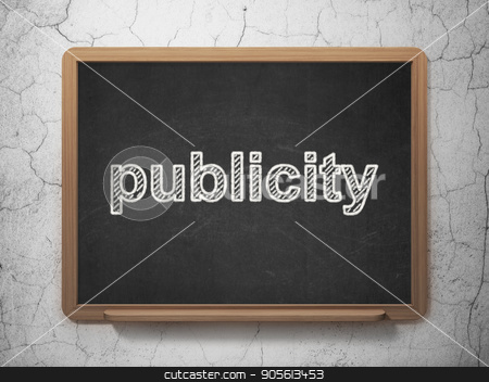 Marketing concept: Publicity on chalkboard background stock photo, Marketing concept: text Publicity on Black chalkboard on grunge wall background, 3D rendering by mkabakov