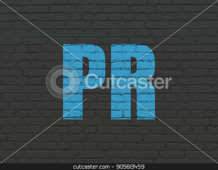 Advertising concept: PR on wall background stock photo, Advertising concept: Painted blue text PR on Black Brick wall background by mkabakov