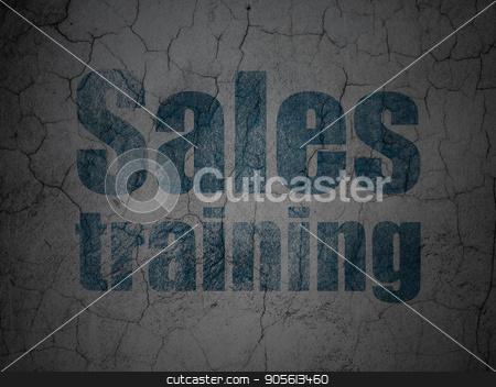 Marketing concept: Sales Training on grunge wall background stock photo, Marketing concept: Blue Sales Training on grunge textured concrete wall background by mkabakov