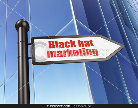 Advertising concept: sign Black Hat Marketing on Building background stock photo, Advertising concept: sign Black Hat Marketing on Building background, 3D rendering by mkabakov