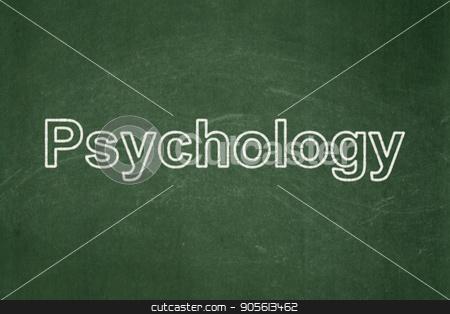 Healthcare concept: Psychology on chalkboard background stock photo, Healthcare concept: text Psychology on Green chalkboard background by mkabakov