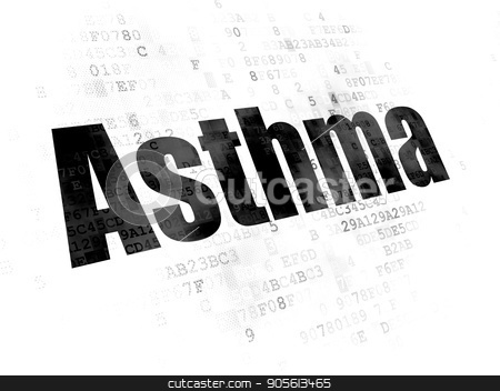 Health concept: Asthma on Digital background stock photo, Health concept: Pixelated black text Asthma on Digital background by mkabakov