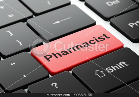 Health concept: Pharmacist on computer keyboard background stock photo, Health concept: computer keyboard with word Pharmacist, selected focus on enter button background, 3D rendering by mkabakov
