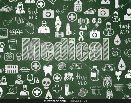 Medicine concept: Medical on School board background stock photo, Medicine concept: Chalk White text Medical on School board background with  Hand Drawn Medicine Icons, School Board by mkabakov