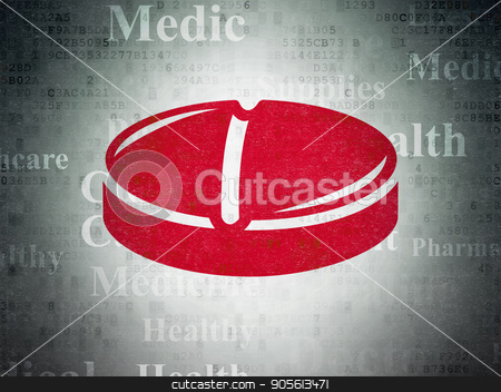 Medicine concept: Pill on Digital Data Paper background stock photo, Medicine concept: Painted red Pill icon on Digital Data Paper background with  Tag Cloud by mkabakov