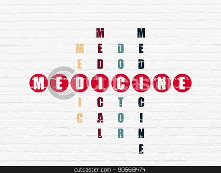 Medicine concept: Medicine in Crossword Puzzle stock photo, Medicine concept: Painted red word Medicine in solving Crossword Puzzle by mkabakov