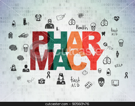 Medicine concept: Pharmacy on Digital Data Paper background stock photo, Medicine concept: Painted multicolor text Pharmacy on Digital Data Paper background with  Hand Drawn Medicine Icons by mkabakov