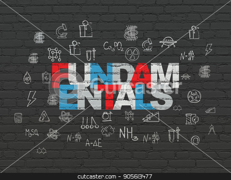 Science concept: Fundamentals on wall background stock photo, Science concept: Painted multicolor text Fundamentals on Black Brick wall background with  Hand Drawn Science Icons by mkabakov