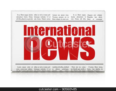 News concept: newspaper headline International News stock photo, News concept: newspaper headline International News on White background, 3D rendering by mkabakov
