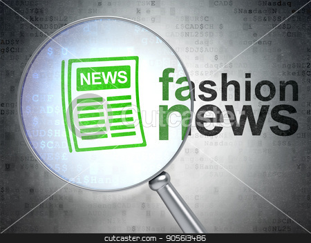 News concept: Newspaper and Fashion News with optical glass stock photo, News concept: magnifying optical glass with Newspaper icon and Fashion News word on digital background, 3D rendering by mkabakov
