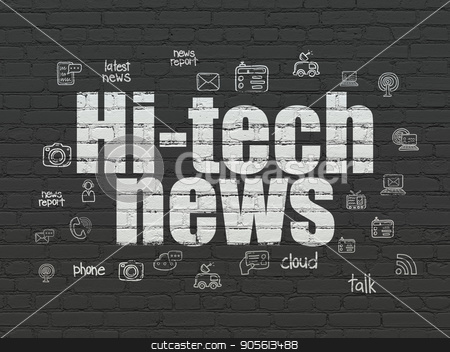 News concept: Hi-tech News on wall background stock photo, News concept: Painted white text Hi-tech News on Black Brick wall background with  Hand Drawn News Icons by mkabakov