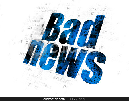 News concept: Bad News on Digital background stock photo, News concept: Pixelated blue text Bad News on Digital background by mkabakov
