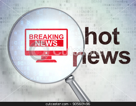 News concept: Breaking News On Screen and Hot News with optical glass stock photo, News concept: magnifying optical glass with Breaking News On Screen icon and Hot News word on digital background, 3D rendering by mkabakov