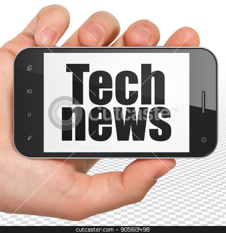News concept: Hand Holding Smartphone with Tech News on display stock photo, News concept: Hand Holding Smartphone with black text Tech News on display, 3D rendering by mkabakov