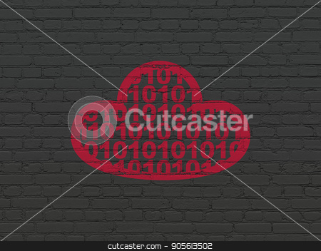 Cloud networking concept: Cloud With Code on wall background stock photo, Cloud networking concept: Painted red Cloud With Code icon on Black Brick wall background by mkabakov