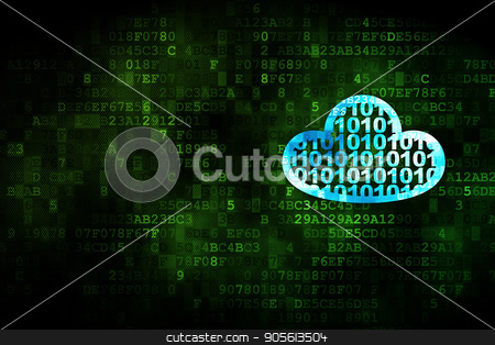 Cloud networking concept: Cloud With Code on digital background stock photo, Cloud networking concept: pixelated Cloud With Code icon on digital background, empty copyspace for card, text, advertising by mkabakov