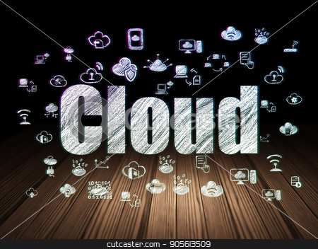 Cloud computing concept: Cloud in grunge dark room stock photo, Cloud computing concept: Glowing text Cloud,  Hand Drawn Cloud Technology Icons in grunge dark room with Wooden Floor, black background by mkabakov