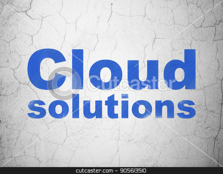 Cloud technology concept: Cloud Solutions on wall background stock photo, Cloud technology concept: Blue Cloud Solutions on textured concrete wall background by mkabakov