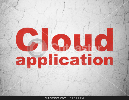 Cloud computing concept: Cloud Application on wall background stock photo, Cloud computing concept: Red Cloud Application on textured concrete wall background by mkabakov