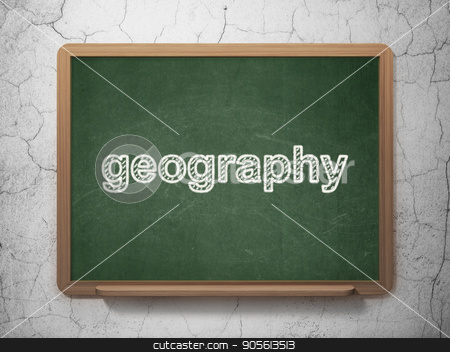 Learning concept: Geography on chalkboard background stock photo, Learning concept: text Geography on Green chalkboard on grunge wall background, 3D rendering by mkabakov