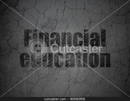 Learning concept: Financial Education on grunge wall background stock photo, Learning concept: Black Financial Education on grunge textured concrete wall background by mkabakov