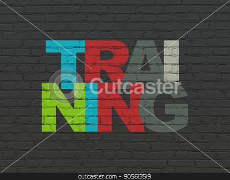 Studying concept: Training on wall background stock photo, Studying concept: Painted multicolor text Training on Black Brick wall background by mkabakov