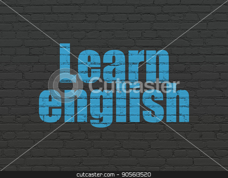 Studying concept: Learn English on wall background stock photo, Studying concept: Painted blue text Learn English on Black Brick wall background by mkabakov