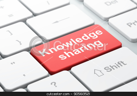 Studying concept: Knowledge Sharing on computer keyboard background stock photo, Studying concept: computer keyboard with word Knowledge Sharing, selected focus on enter button background, 3D rendering by mkabakov