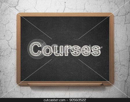 Learning concept: Courses on chalkboard background stock photo, Learning concept: text Courses on Black chalkboard on grunge wall background, 3D rendering by mkabakov