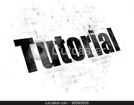 Studying concept: Tutorial on Digital background stock photo, Studying concept: Pixelated black text Tutorial on Digital background by mkabakov