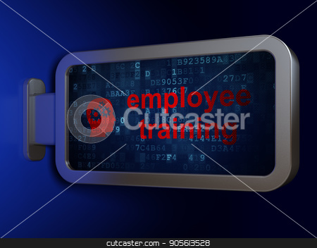 Learning concept: Employee Training and Head With Gears on billboard background stock photo, Learning concept: Employee Training and Head With Gears on advertising billboard background, 3D rendering by mkabakov